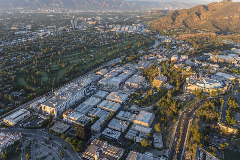 Late Afternoon Aerial of Universal City Studios in Los Angeles. Los Angeles, California, USA - July 21, 2016: Late afternoon aerial of Universal City Studios royalty free stock photo