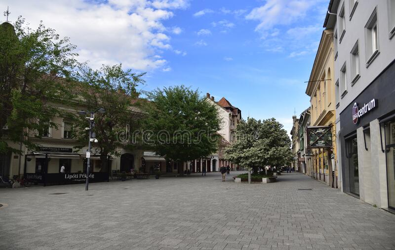 Late afternoon with blue sky above Old city square in Szombathely, Hungary stock photography