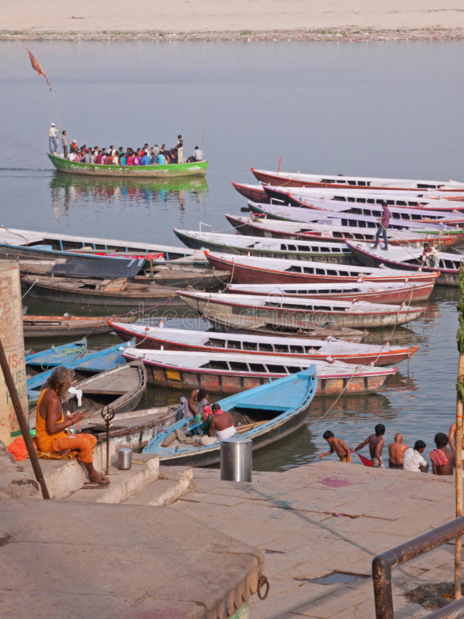 Late afternoon on the Ganges at Varanasi, India royalty free stock image