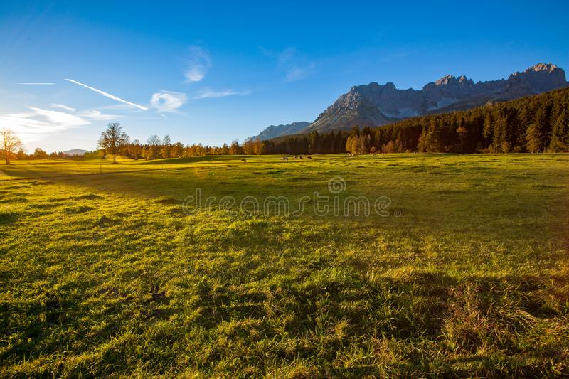 Sunset in beautiful landscape Tirol, Austria. The Mountain `Wilder Kaiser` in the background royalty free stock photos