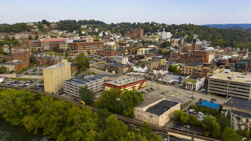 Late Afternoon Sunshine Hits Buildings and Architecture in Morgantown WV. Morgantown West Virginia is situated on a steep hill above the Monongahela River stock photo