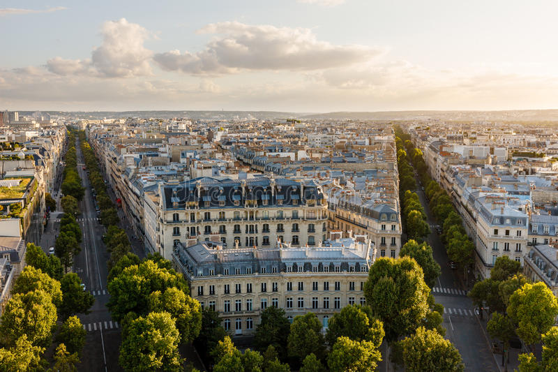 Late afternoon 16th arrondissement rooftops, Paris, France royalty free stock photography