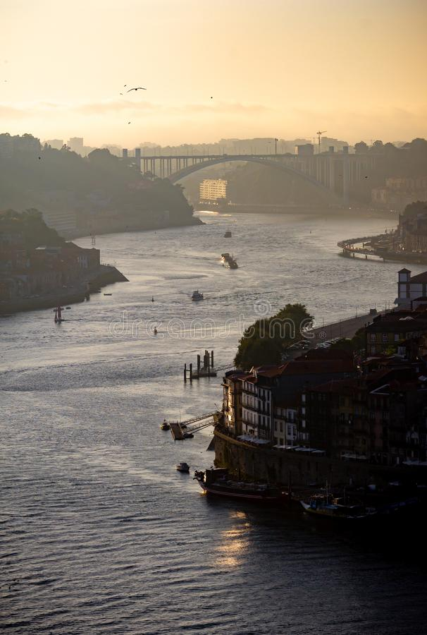 Late afternoon view of Douro River in Porto. A late afternoon view of the Douro River in Porto royalty free stock image