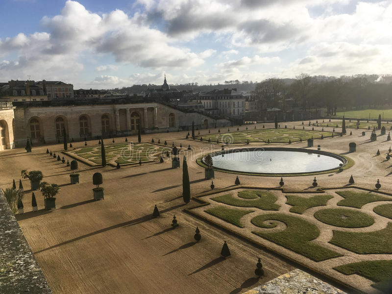 Late afternoon view of Versailles Palace grounds on a sunny winter afternoon, France stock images