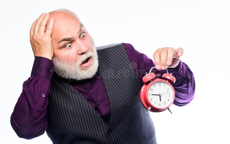Late again. mature bearded man with alarm clock. mature man with beard clock show time. time management. business royalty free stock photos