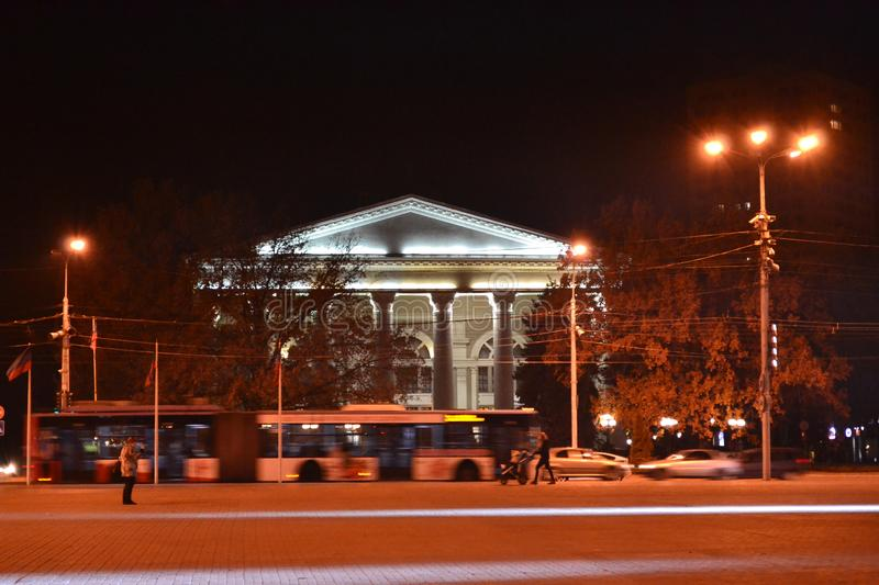 Late autumn evening in Donetsk, Ukraine 2018. View of the drama theater in the city center stock images