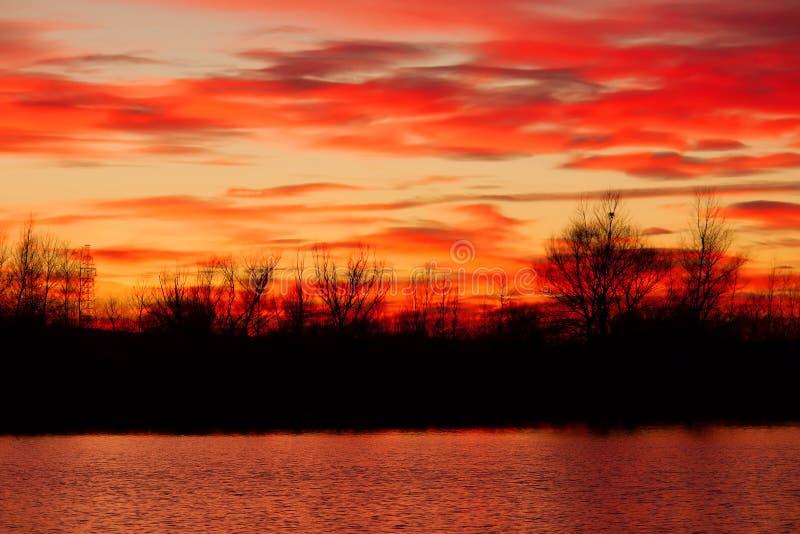 Late autumn forest. On the river shore during sunset. Shot in Poltavska region, Ukraine stock photo