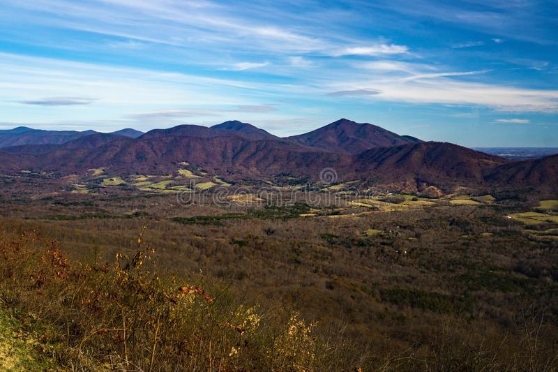 Late Autumn View of the Peaks of Otter and Goose Creek Valley stock images