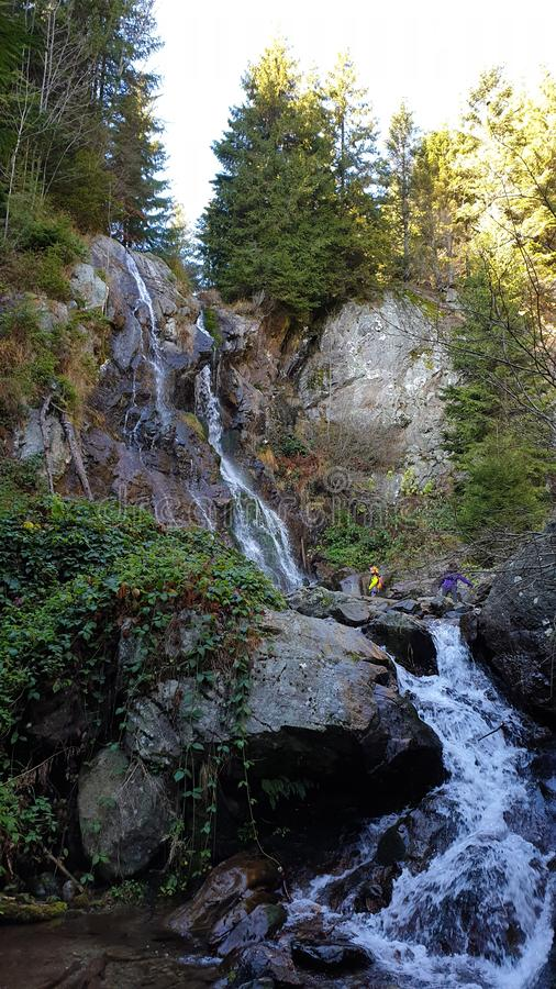 Late autumn in Western Carpathians Varciorog Waterfall royalty free stock images