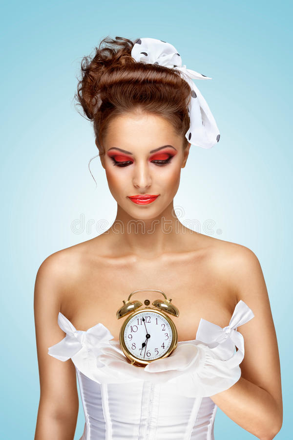 Download She is always late. stock photo. Image of holding, fashion - 36380392