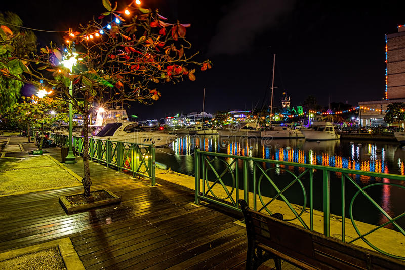 Late Christmas evening at the wharf in brightly lit Bridgetown, Barbados stock photos