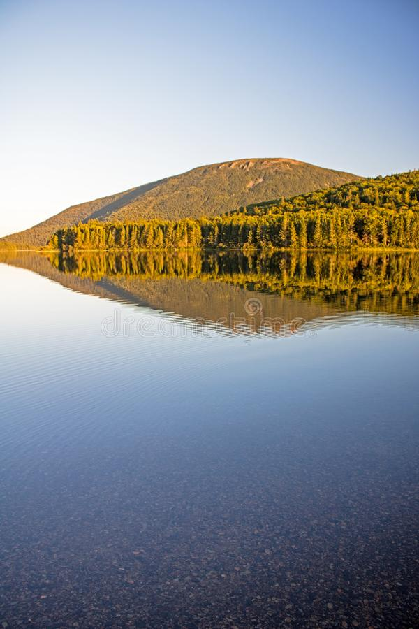 Late Day Scene At Mount Carleton Provincial Park. Looking across Big Nictau Lake at Mount Sagamook in Mount Carleton Provincial Park. The location is in the royalty free stock image