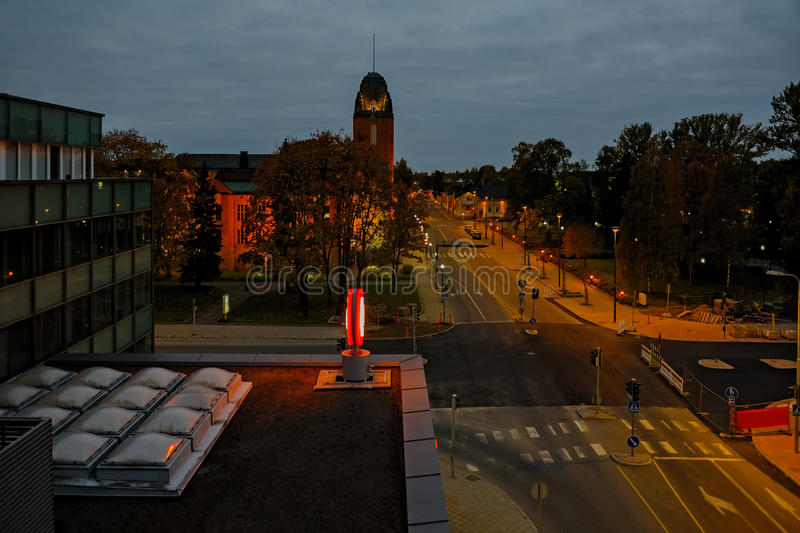 Late evening in Joensuu, Finland. Elevated view to autumn late evening scene of mainstreet with Town Hall in Joensuu, Finland stock photo