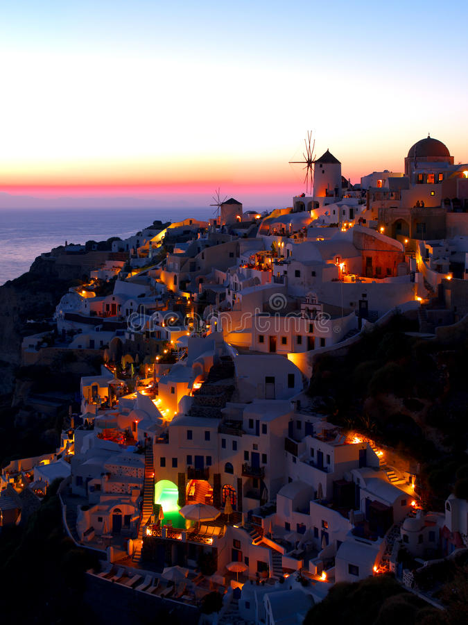Download A Late Evening At Oia Village Stock Photo - Image: 17108560