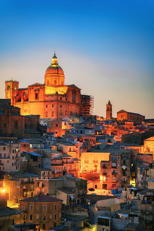 Late evening with Piazza Armerina church and old town. Sicily, Italy stock images
