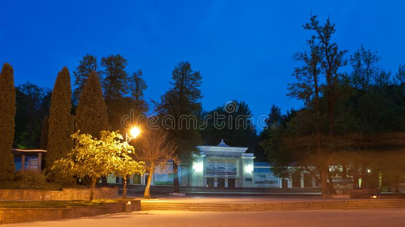 Mineral water buvette in Truskavets, late evening view, Ukraine. Late evening view of a mineral water buvette in Truskavets, Ukraine royalty free stock photos