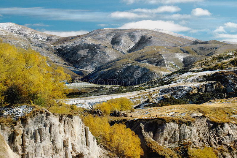 Late Fall Landscape. Some snow on hills royalty free stock photography