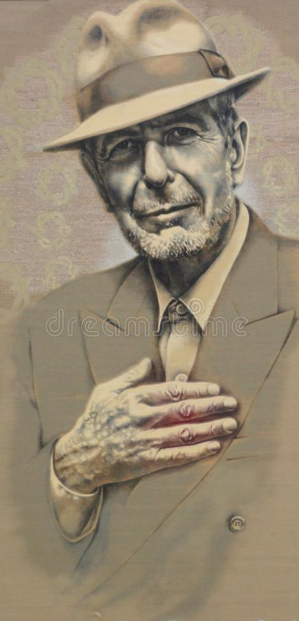 The late, great Leonard Cohen. MONTREAL QUEBEC CANADA 11 04 17: The late, great Leonard Cohen has inspired yet another piece of public artwork. tribute to Cohen stock images