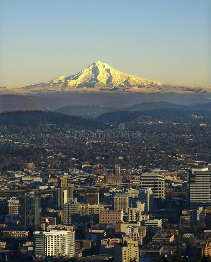 Mt. Hood With Portland Oregon Royalty Free Stock Image