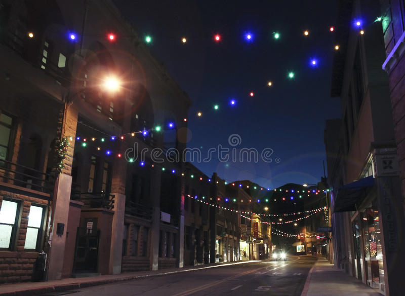 A Late Night in Bisbee During the Holidays royalty free stock photos