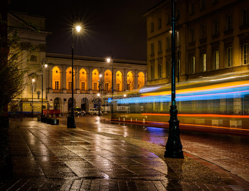 A late-night bus stock image