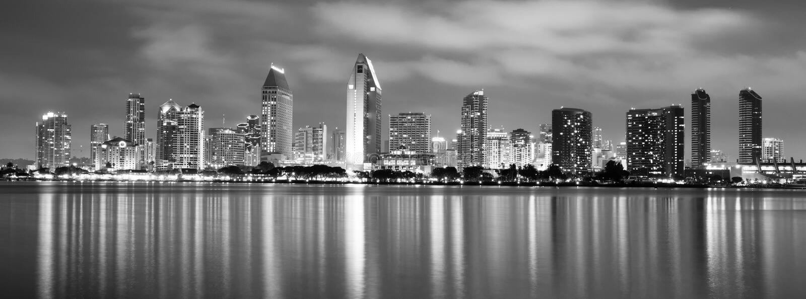 Late Night Coronado San Diego Bay Downtown City Skyline. Clouds look ominous over San Diego, California royalty free stock photo