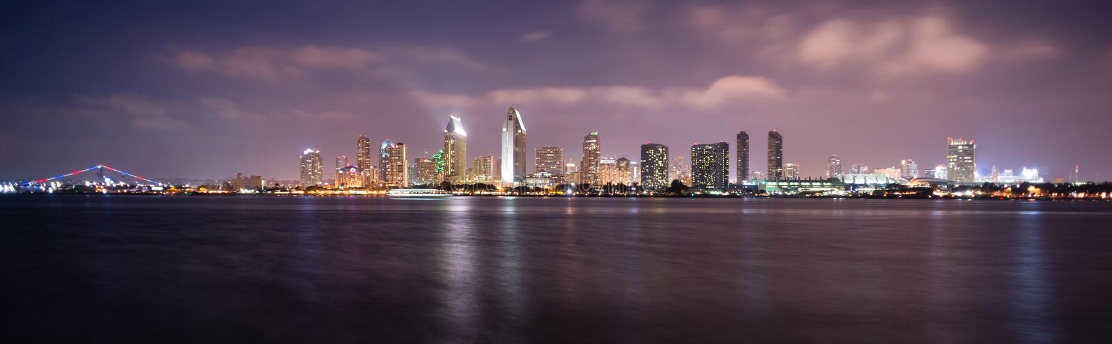 Late Night Coronado San Diego Bay Downtown City Skyline. Clouds look ominous over San Diego, California stock images