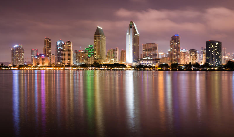 Late Night Coronado San Diego Bay Downtown City Skyline. Clouds look ominous over San Diego, California royalty free stock photos