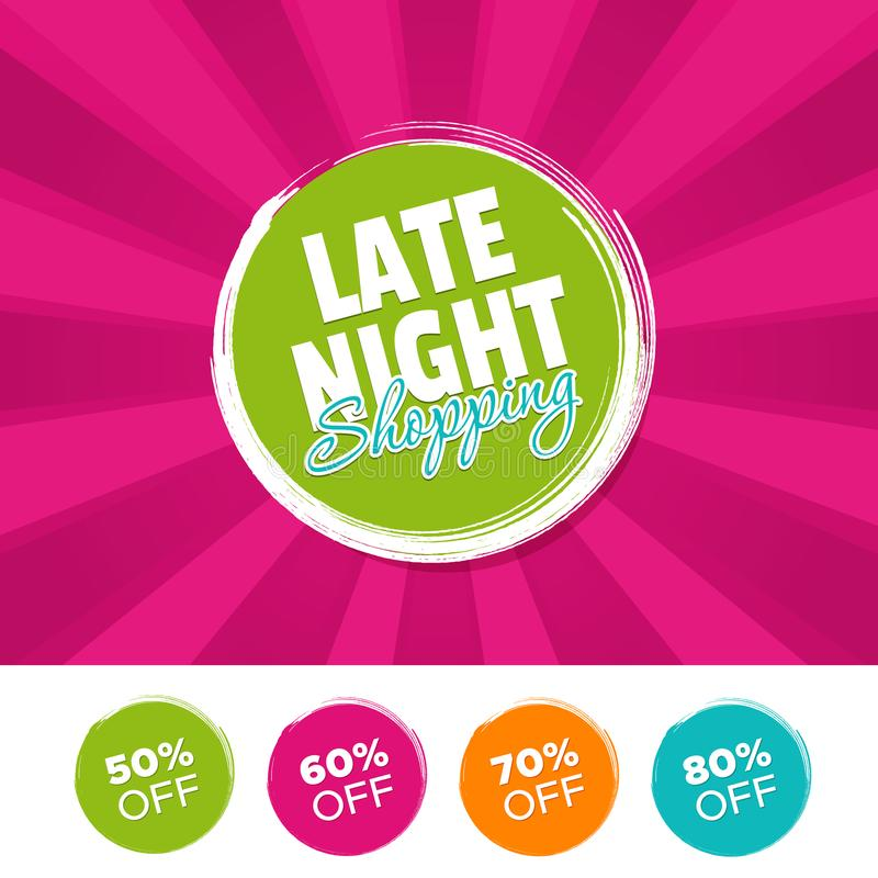 Free Late Night Shopping Color Banner And 50, 60, 70 & 80 Off Marks. Royalty Free Stock Photography - 110922337