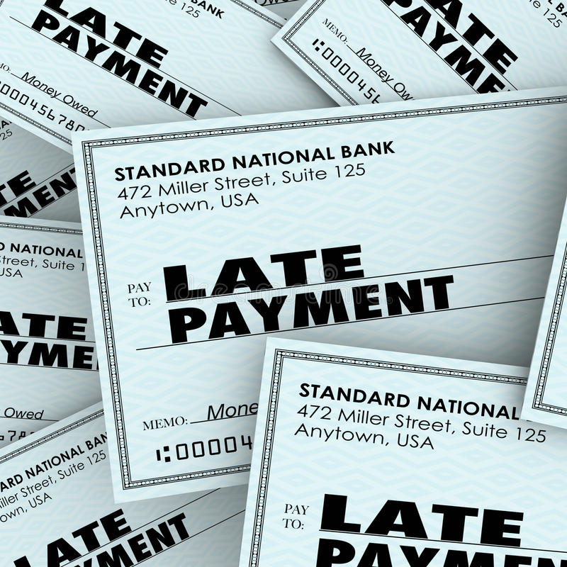 Late Payment Words Overdue Check Paying Bills Pile. Late Payment words on checks in a pile as overdue bills being paid to banks, credit cards or other vector illustration