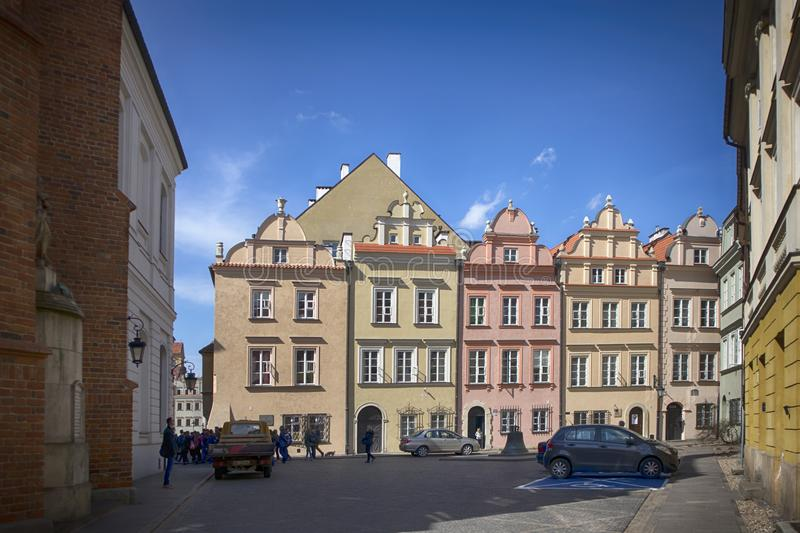 Late-Renaissance style burgher houses which were rebuilt after the Second World War and now form the UNESCO World Heritage Site Ol. WARSAW, POLAND - APRIL 28 stock photography