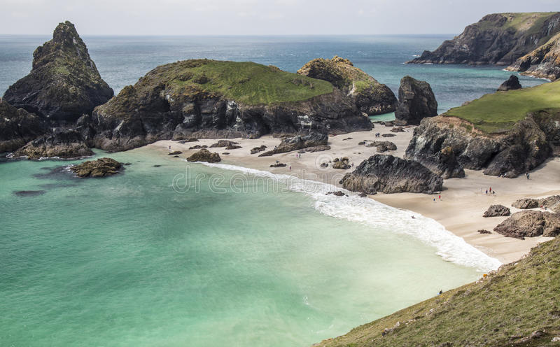 Late Spring day at Kynance Cove, Cornwall, England. An idyllic scende royalty free stock image