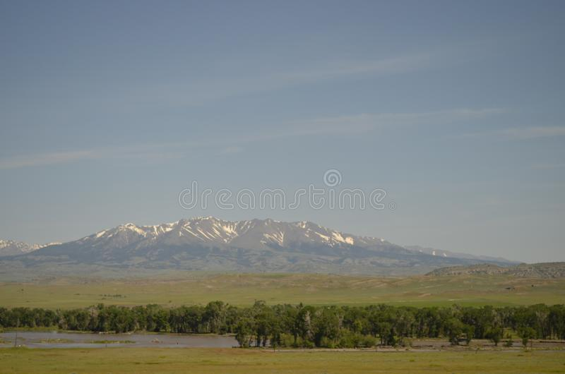Late Spring in Montana: Looking North Across the Yellowstone River to the Crazy Mountains royalty free stock photos