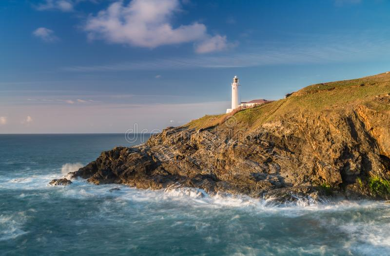 Late Sun and golden light, Trevose Lighthouse, Cornwall royalty free stock photos