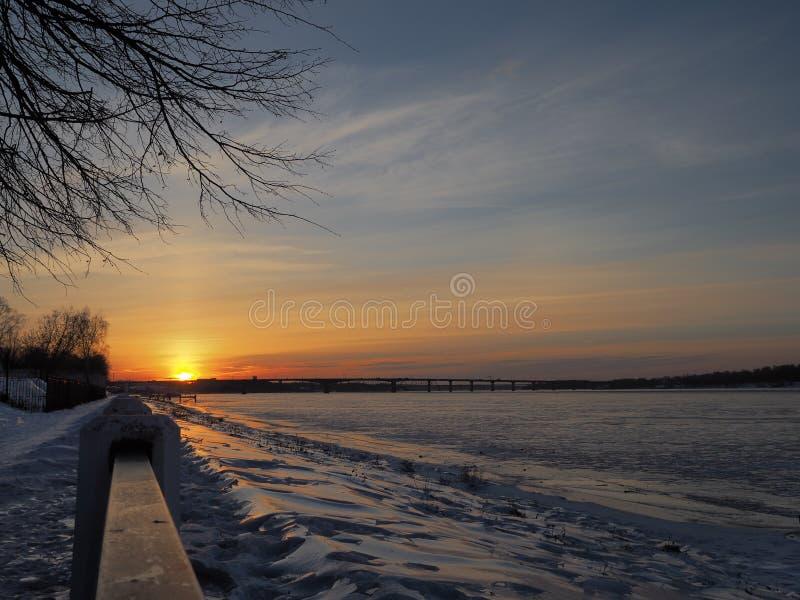 Late sunrise at Kostroma stock image
