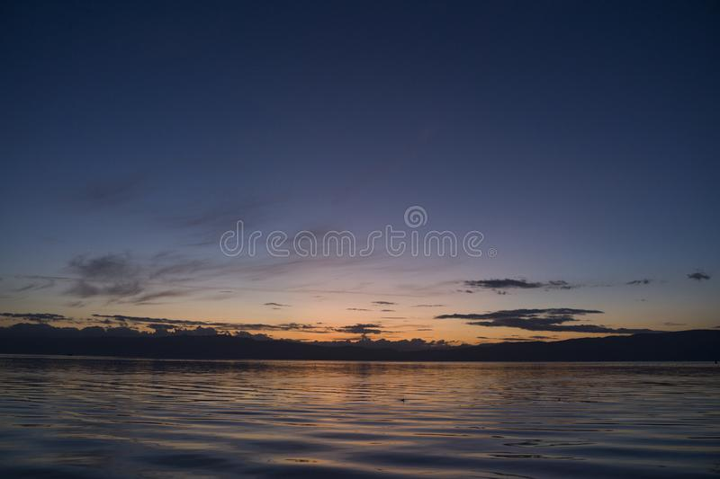 Late sunset at Ohrid lake royalty free stock photography