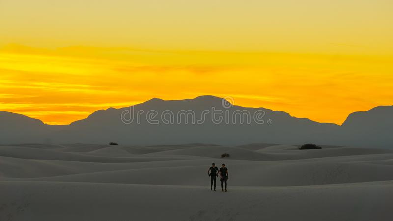 Late Sunset over the Desert White Sands of New Mexico royalty free stock photo