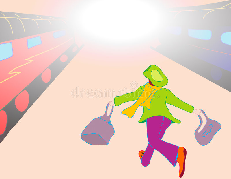 Late for the train vector illustration