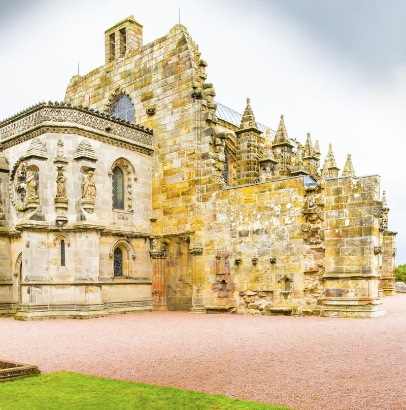 Lateal Ansicht Schottland Rosslyn-Kapelle lizenzfreie stockbilder