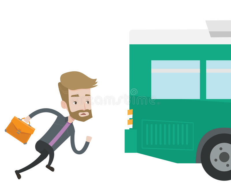 Latecomer man running for the bus. Young businessman running to catch bus. Caucasian man running for a outgoing bus. Man chasing a bus. Latecomer man running to vector illustration