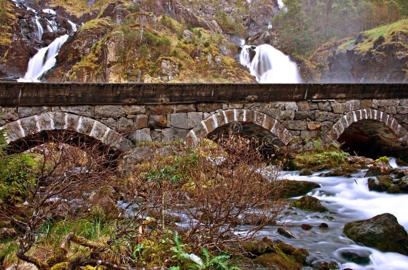 Latefoss - één van de grootste watervallen in Noorwegen royalty-vrije stock foto's