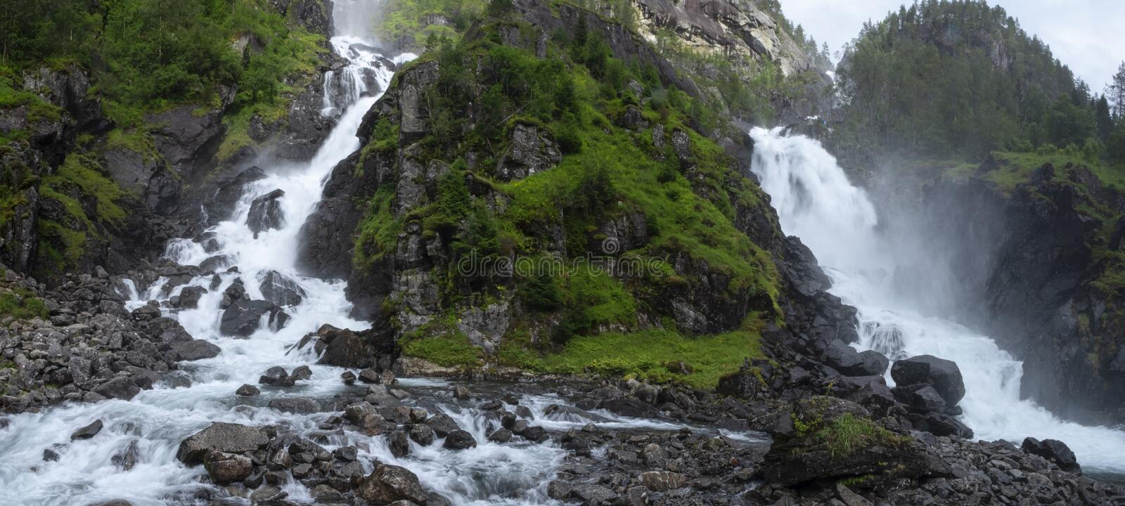 Latefossen waterfalls in Norway stock photography