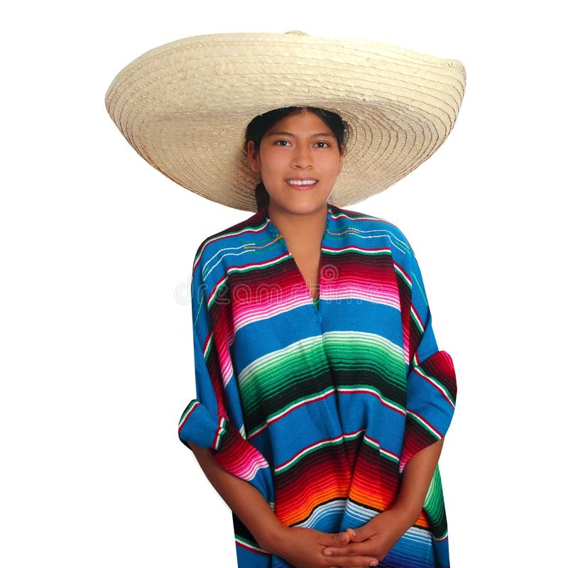 Lateinische mexikanische hispanische Sombreroponchofrau lizenzfreie stockfotografie