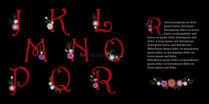Lateinischer Satz des englischen Alphabetes der Stickereiweinlese Anfangsdekorative Blumen der tropfenkappe Aufwändiger roter Vek lizenzfreie abbildung