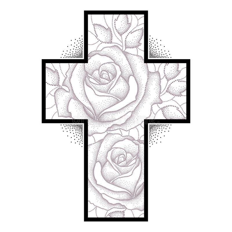 Lateinisches Kreuz Mit Punktierter Rosafarbener Blume Und Blättern ...