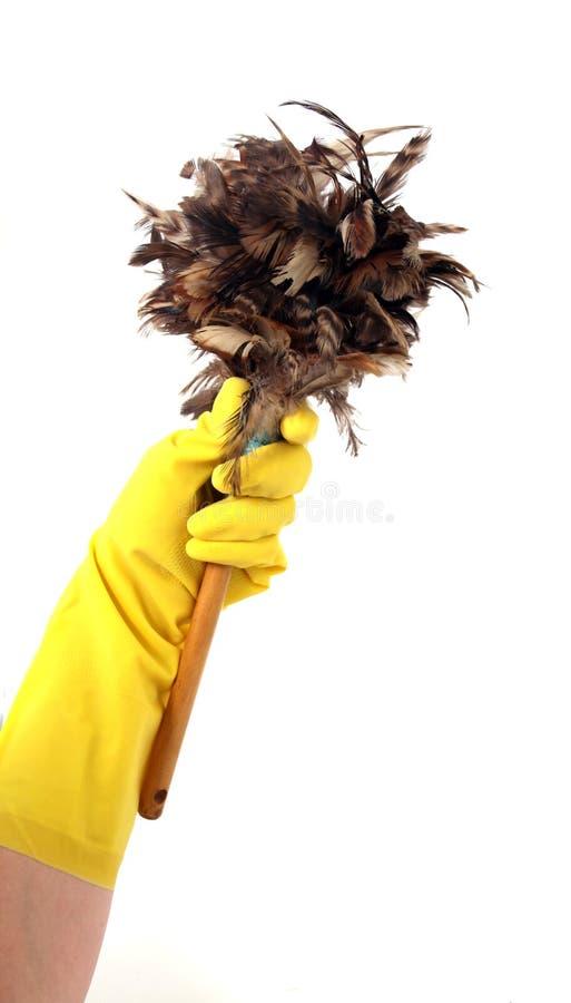lateks rękawiczek duster gospodarstwa fotografia stock