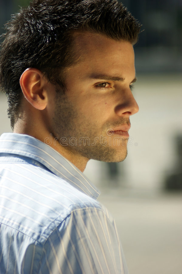 Lateral portrait of a young man. A lateral portrait of a young man stock images