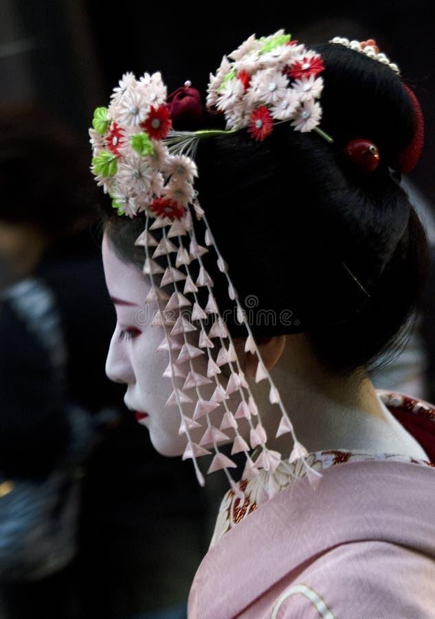 Laterale vista Maiko del ritratto immagini stock