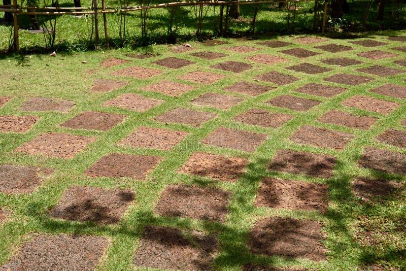 Laterite πορεία πετρών στην πράσινη χλόη στοκ φωτογραφία με δικαίωμα ελεύθερης χρήσης