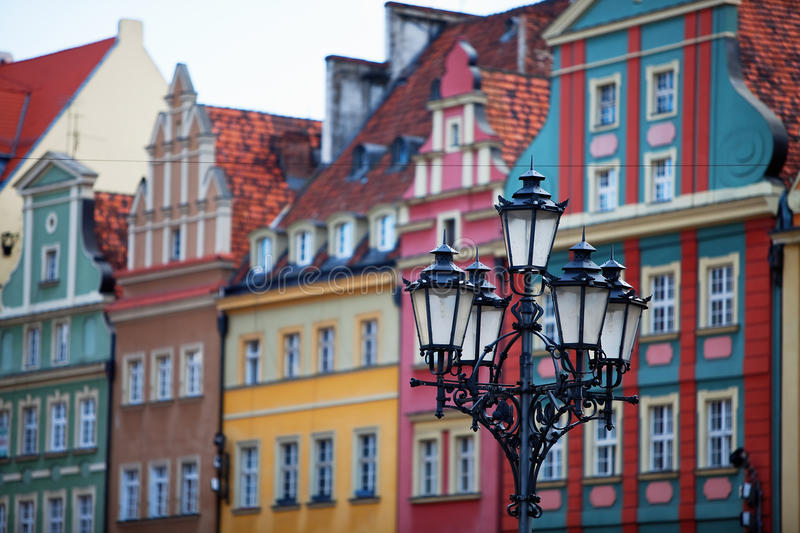 Latern in Wroclaw, Poland. Facades of old houses, Wroclaw, Poland stock image